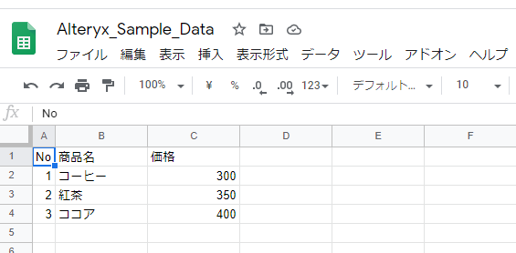 スプレッドシートのデータ